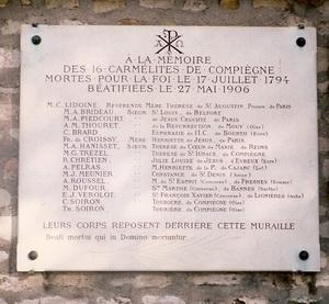 Memorial to the Compiègne Martyrs in Picpus Cemetery Paris
